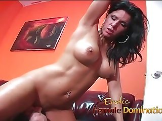 Naughty brunette stunner sucks on a cock and swallows some