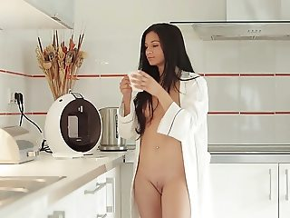 Petite brunette small tit babe masturbates
