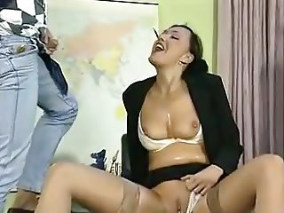 German teacher threesome pissing with her students
