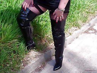 Mature BBW Linda in Black Leather Mini & Boots
