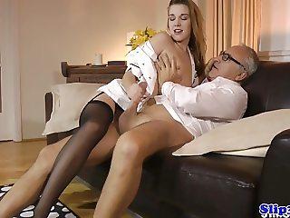 Eurobabe nurse fucks mature couple