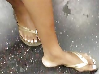 Candid ebony feet with white toe nails pt3 posing