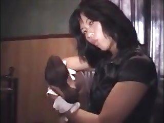 asian girl lick her nylon feet