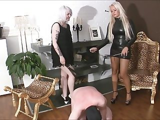 Sadistic FemDom whipping licking licking pins