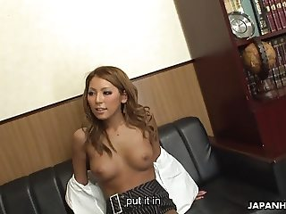 Super hot Asian secretary getting her pussy fucked dearly