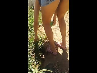 Greek wife upskirt at the garden
