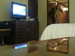 Half naked Arab slut wife teases hotel worker 01