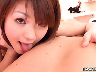 Sexy Asian babe sucking her bro's meaty rod