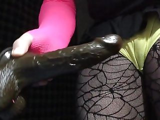 Mindy Size Queen Fucks Tight Pussy with Black Dildo