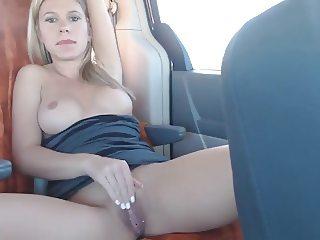 Backseat dildo fuck