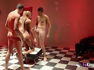 Cuckold husband gives wife to three dicks