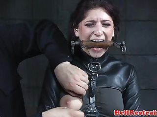 Restrained submissive whipped and flogged